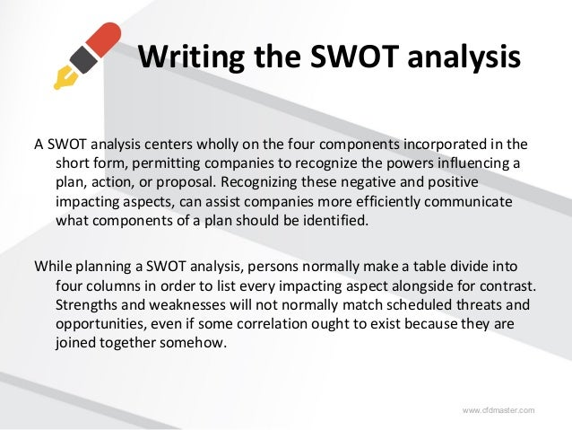 Sample Swot Analysis  Writing The Swot Analysis A Swot Analysis