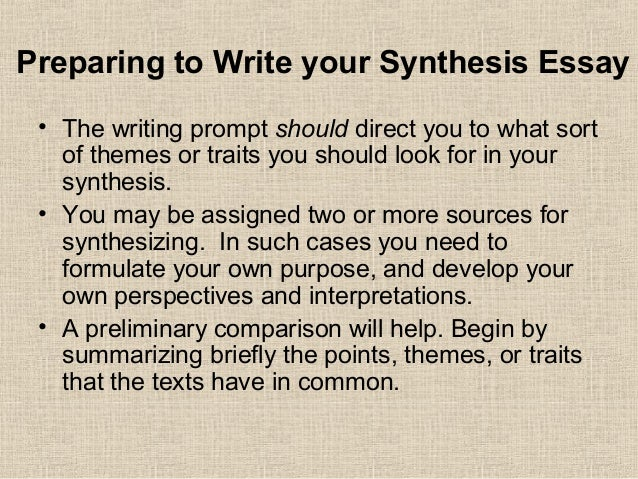 Synthesis Writing   Preparing To Write Your Synthesis Essay