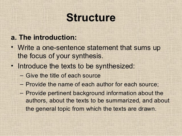 how to write synthesis essay The article reviews the basics of how to write a synthesis essay as well as how to dissect and analyze text when writing an ap english essay one thing i would like.