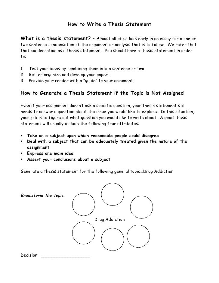 How To Write A Thesis Statement How To Write A Thesis Statement What Is A Thesis Statement