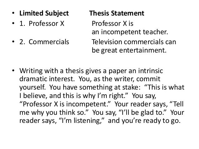 thesis statement one or two sentences