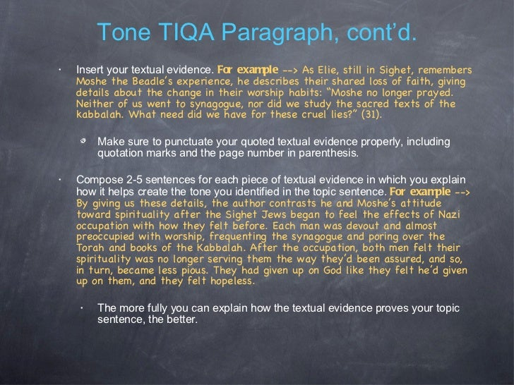 how to write a tone tiqa paragraph