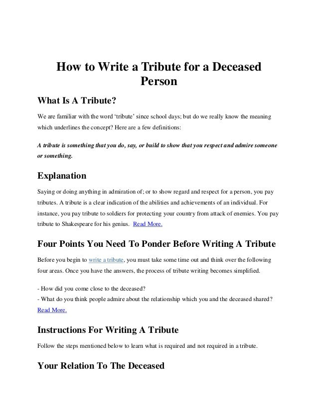 How to write a tribute to a friend