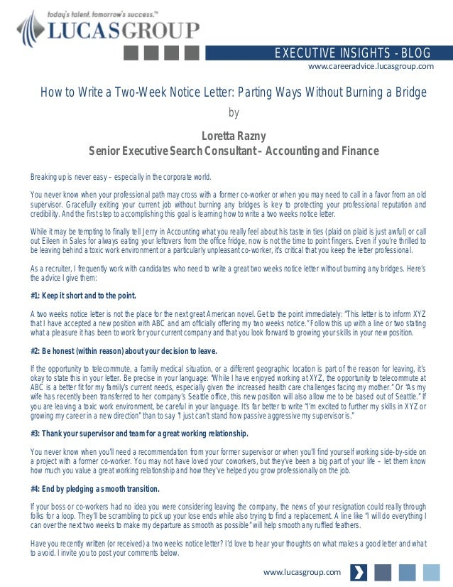 how to write a two weeks notice letter parting ways without burning a bridge wwwlucasgroupcom executive insights blog wwwcareeradvicelucasgroupcom