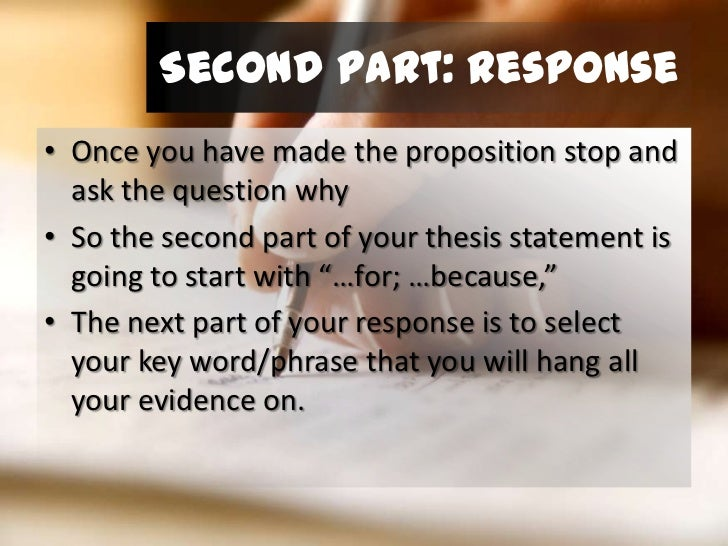 5 part thesis statement 3 creating a thesis statement & outline iwhat is a thesis statement a thesis statement is usually a sentence that states your argument to the reader.