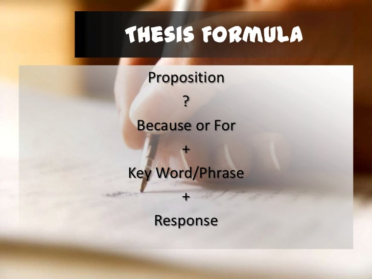 thesis formula How can the answer be improved.