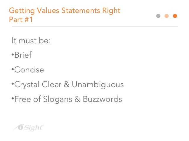 how to write a values statement that encourages ethical