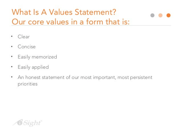 Writing a value statement
