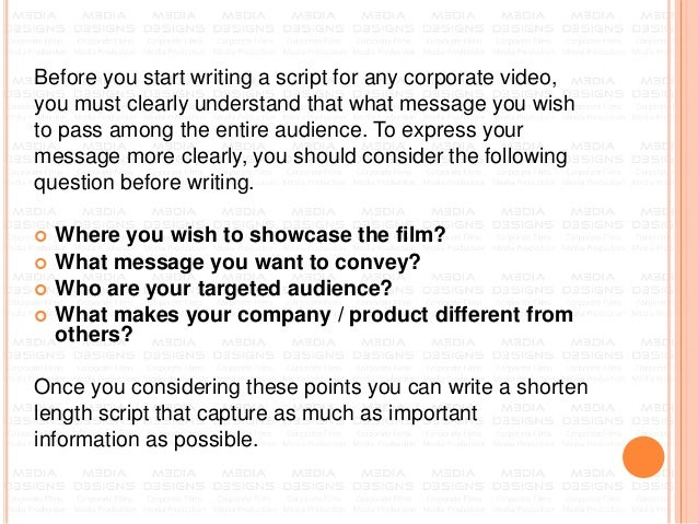 How to write a script for Corporate Video