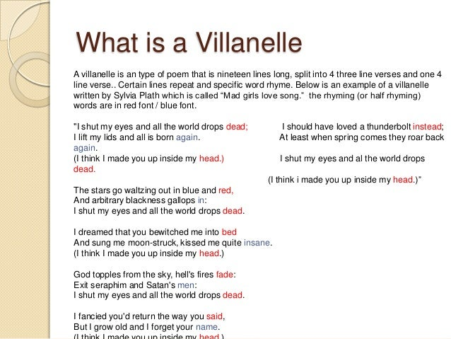 Pictures Of A Villanelle Poem Writer 18