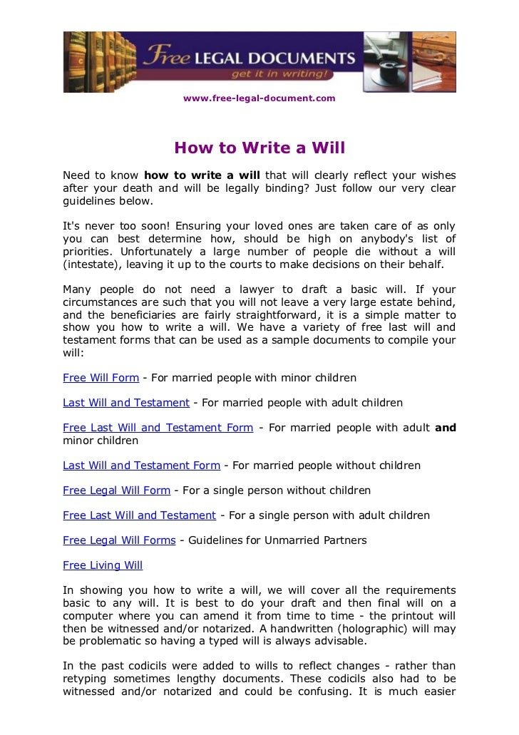 www.free-legal-document.com                     How to Write a WillNeed to know how to write a will that will clearly refl...
