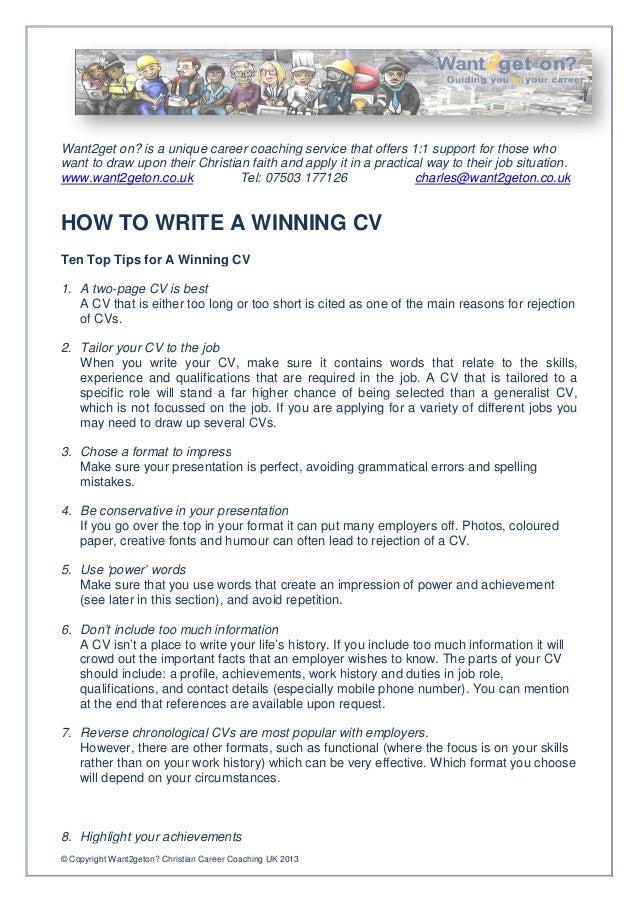 Elegant How To Write A Winning Cv .