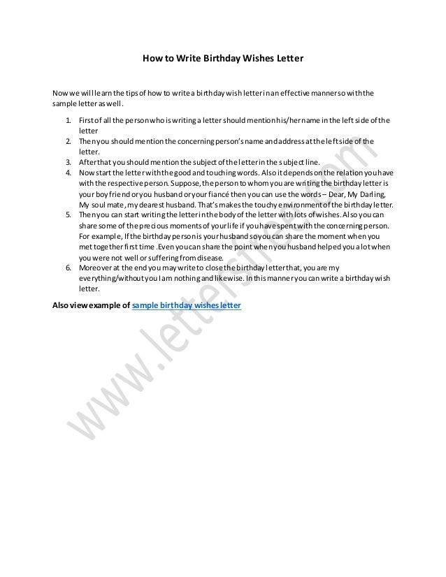 Tips On How To Write Birthday Wishes Letter