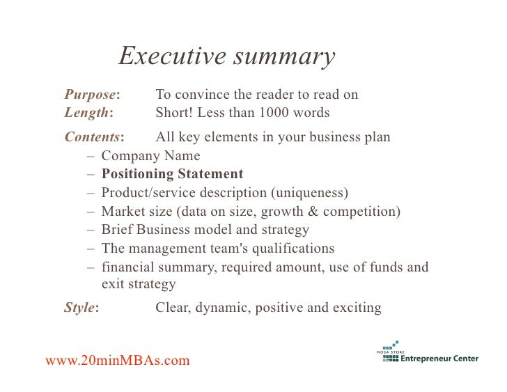 statement of purpose business plan