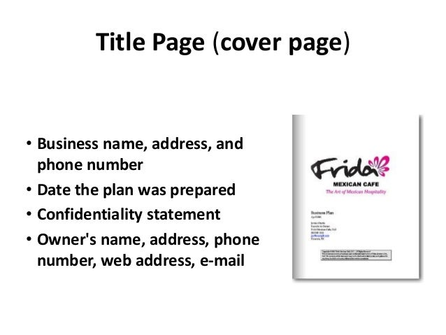 how to draw a cover page of a business plan