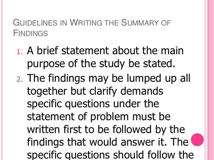 Dissertation summary of findings dissertation abstract international kocsis attention 2004