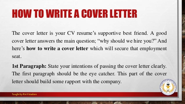 how to write a cover letter for your cv