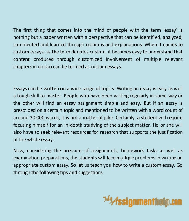 can b custom essay Buying a custom essay can help students at every level our custom essays are written to order and are completely customized to meet your needs.