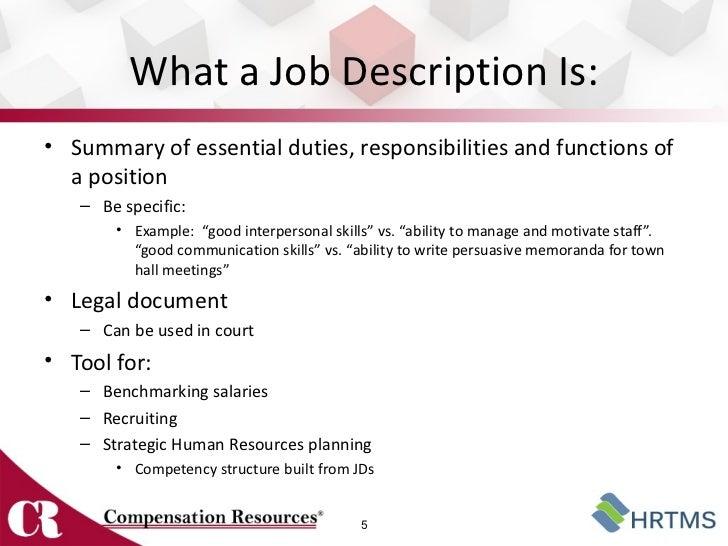 samples of job descriptions