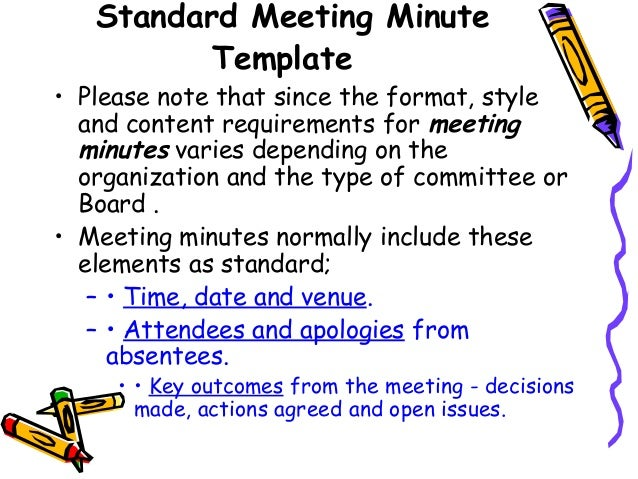 ATTACHMENTS APPROVAL SIGNATURE MINUTES BOOK COPIES; 17. Standard Meeting Minute  Template U2022 Please Note ...  Minute Notes Template