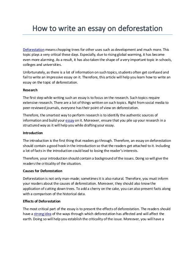 Deforestation Essay | Bartleby