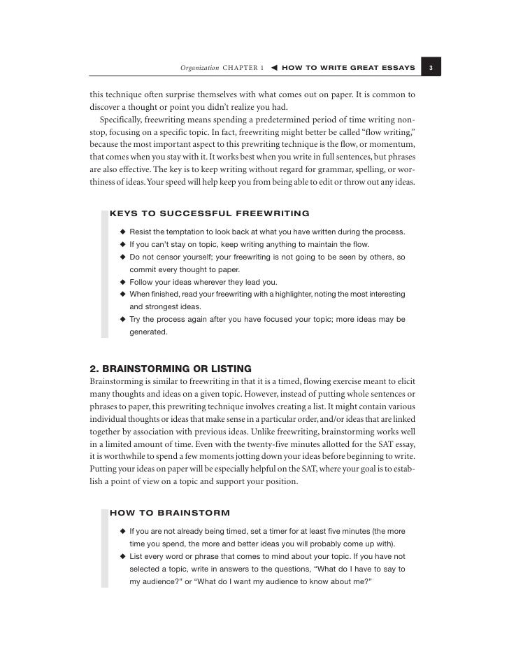 how to write great essays 15 organization chapter 1 how to write great essays