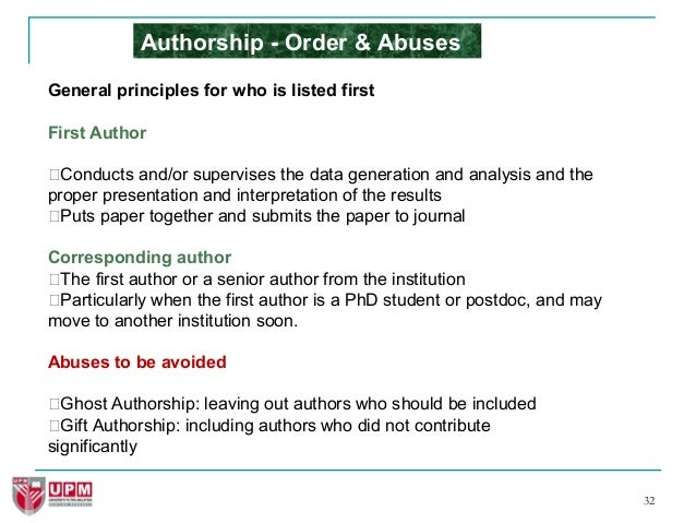 Research paper order of authors