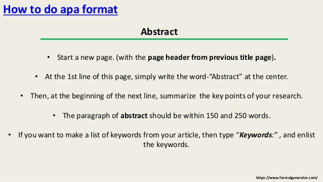 how to format in apa