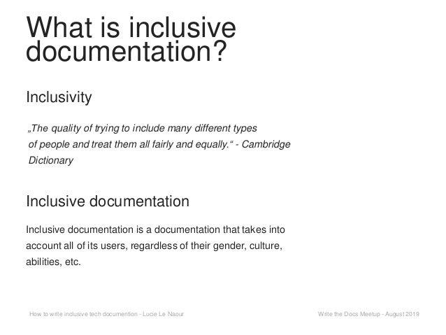 How to write inclusive tech documentation Slide 3