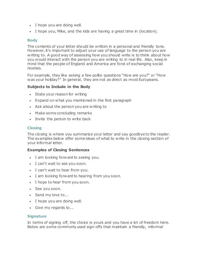 How to write informal letters in english (1)