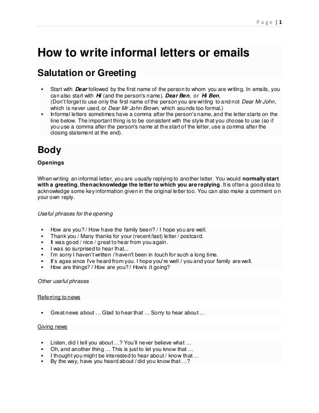 How to write informal letters or emails p a g e 1 how to write informal letters or emails salutation or greeting start m4hsunfo