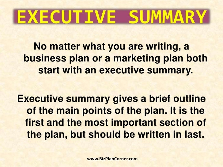 the executive summary section of the business plan contains synonyms