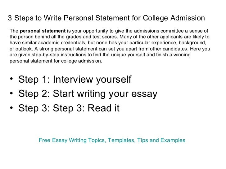 Personal statements for college applications