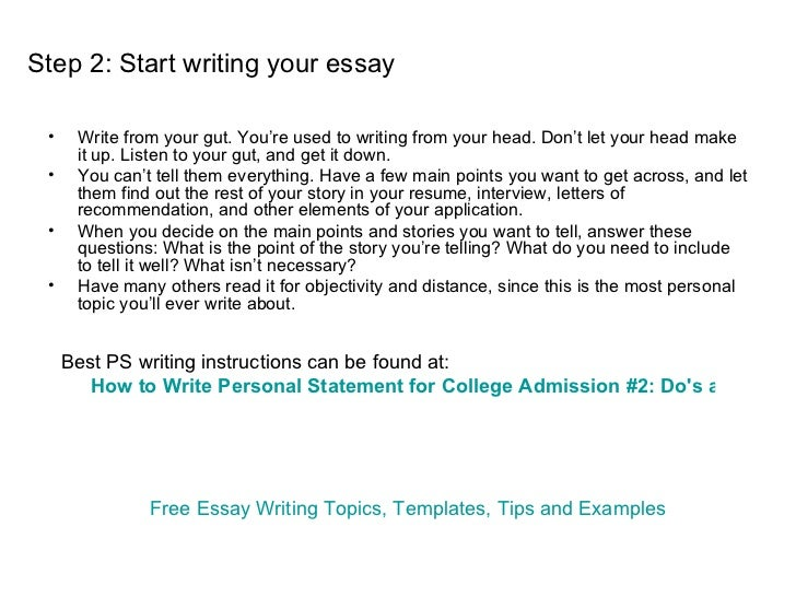 Write college application personal statement
