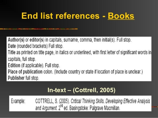 how to write reference list