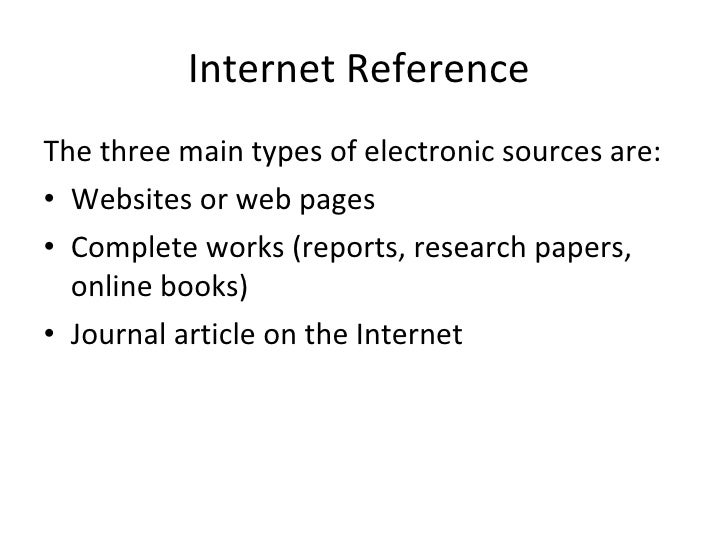 how to make references from internet