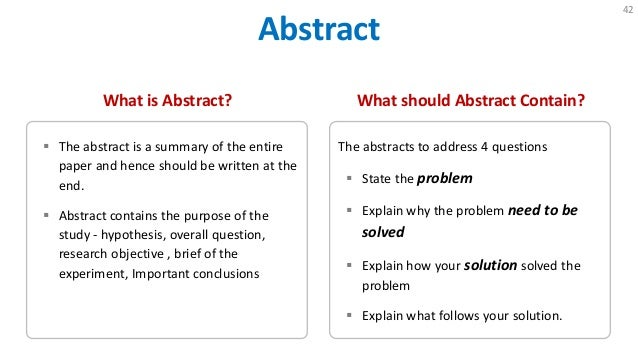 Organizing Your Social Sciences Research Paper: The Abstract