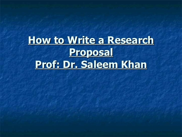 how to write research proposal 1