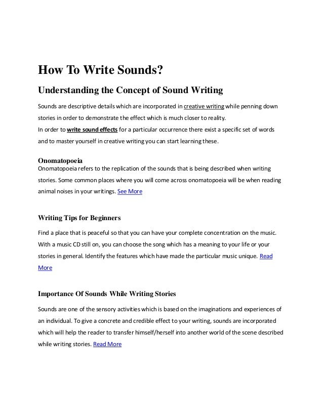 How to write sounds?