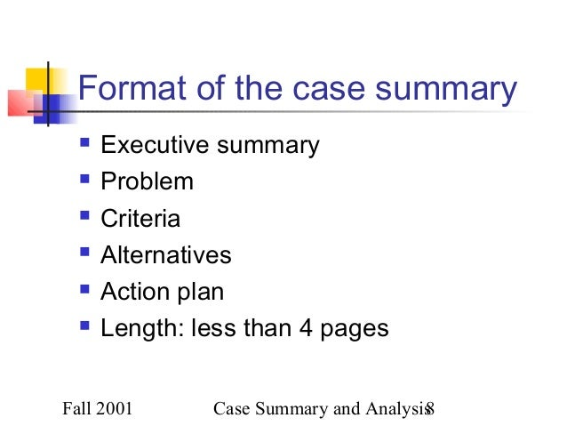 how to write an executive summary for a case analysis