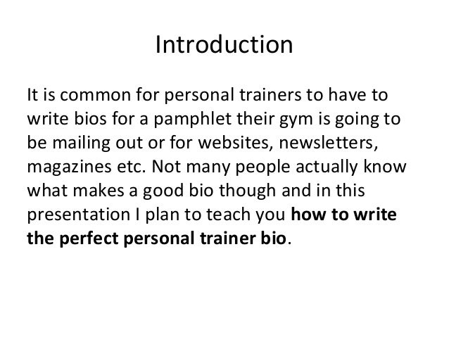personal trainer biography example