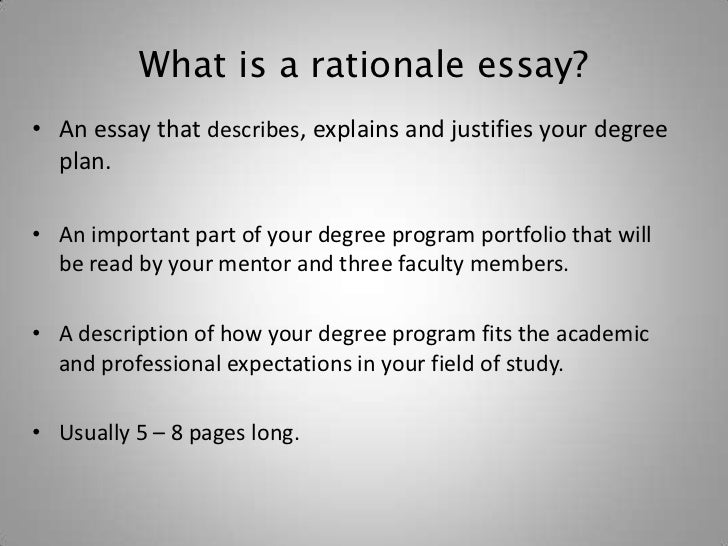 Rationale for dissertation