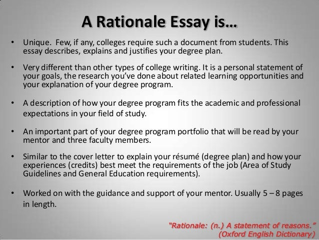 Rationale of the study thesis