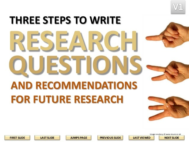 THREE STEPS TO WRITE  RESEARCH  QUESTIONS AND RECOMMENDATIONS FOR FUTURE RESEARCH Image courtesy of www.visum.co.uk  FIRST...