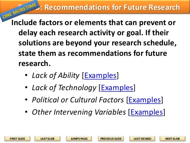 recommendation for future research example