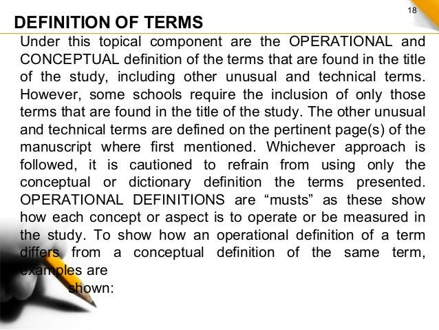 define a thesis proposal Definition of terms this section of chapter 1 provides definitions for terms used in the proposal that are unusual or not widely understood in addition, common terms.