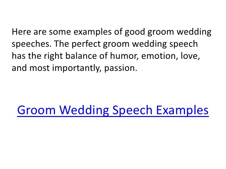 Wedding Speech Help Groom
