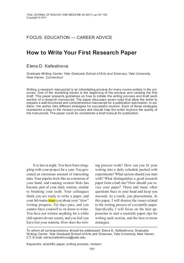 how to write your first research paper kallestinova