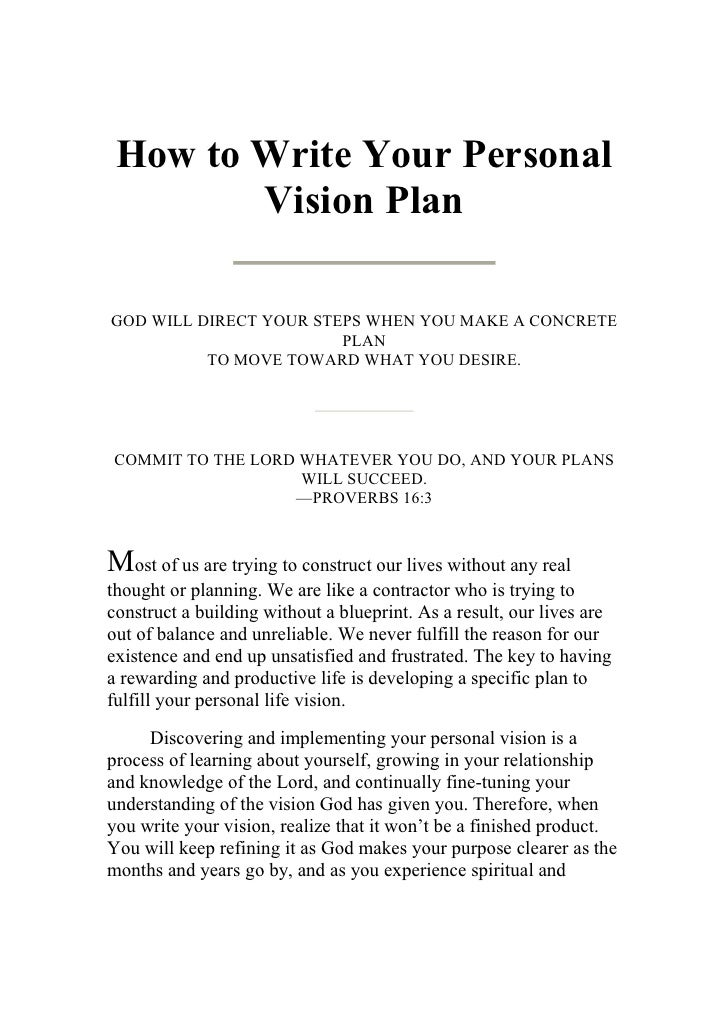 Developing a personal vision statement