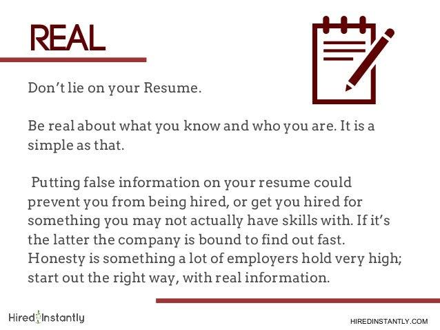 com 7 dont lie on your resume